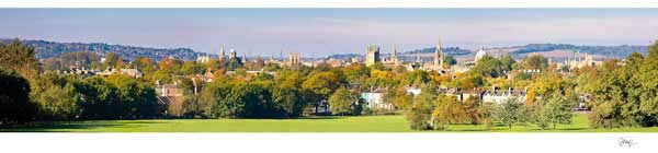 Panorama of Oxford University's Spires in Autumn.