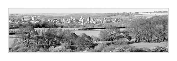 Panorama of Oxford University's Dreaming Spires in Black and White, seen from Boars Hill.