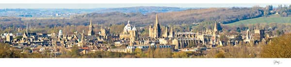 Panorama of Oxford University's Dreaming Spires from Boars Hill.