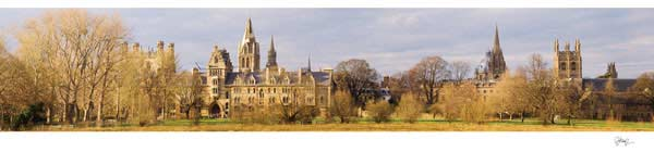 Panorama of Oxford University's Christ Church College.