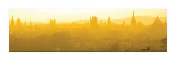 Panorama of Oxford University's Dreaming Spires in Gold.