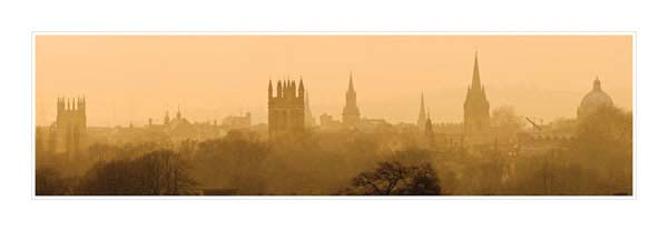 Panorama of Oxford University's Dreaming Spires in Mist.