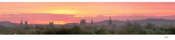 Panorama of Oxford University's Dreaming Spires from South Park in an Orange Sunset.