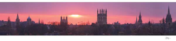 Panorama of Oxford University's Dreaming Spires with a Pink Sunset.