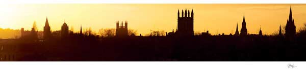 Panorama of Oxford University's Silhouetted at Sunset.