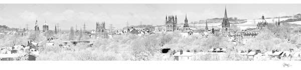 Black and White Panorama of Oxford University's Dreaming Spires in Snow.