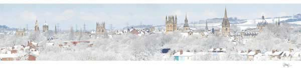 Panorama of Oxford University's Dreaming Spires in Snow, Telephoto Version.