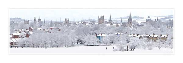 Panorama of Oxford University's Dreaming Spires in Snow.