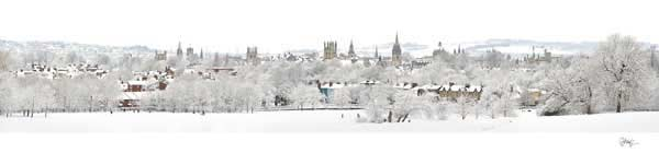 Panorama of Oxford University's Dreaming Spires in the Snow