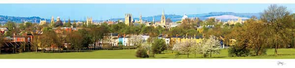 Panorama of Oxford University's Dreaming Spires in the Spring.