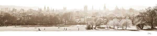 Panorama of Oxford University's Dreaming Spires in Sepia.