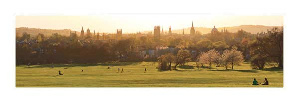 Panorama of Oxford University's Dreaming Spires in Spring.