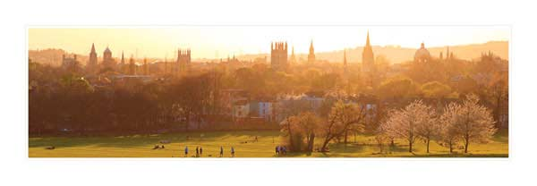 Panorama of Oxford University's Dreaming Spires in Springtime.