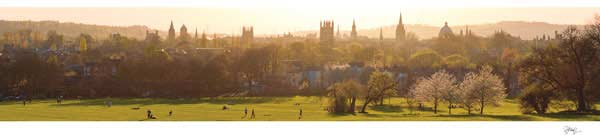 Panorama of Oxford University's Dreaming Spires a Sunset.