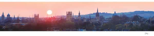 Sundown over Oxford University's Dreaming Spires in Mist.